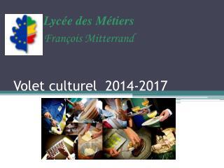 Volet culturel  2014-2017