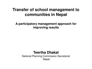Teertha Dhakal National Planning Commission Secretariat  Nepal