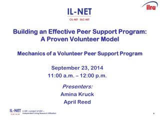 September 23, 2014 11:00 a.m. – 12:00 p.m. Presenters: Amina Kruck April Reed