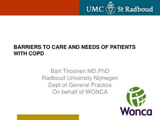 Barriers to care and needs of patients with COPD