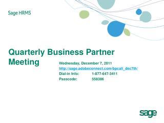Quarterly Business Partner Meeting