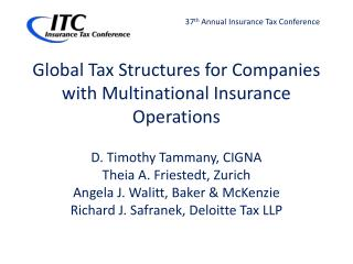 Global Tax Structures for Companies with Multinational Insurance Operations