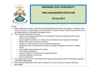 MOHOKARE LOCAL MUNICIPALITY  FINAL ORGANISATION STRUCTURE  28 June 2012