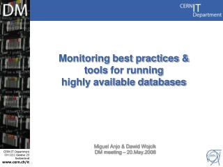 Monitoring best practices & tools for running highly available databases