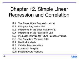 Chapter 12. Simple Linear Regression and Correlation