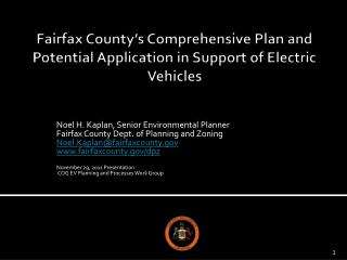 Fairfax County s Comprehensive Plan and Potential Application in Support of Electric Vehicles