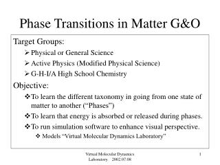 Phase Transitions in Matter G&O