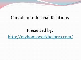 Canadian Industrial Relations slideshare