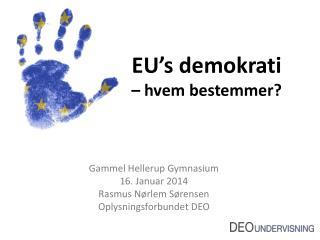 EU's demokrati – hvem bestemmer?