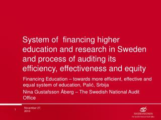 The Swedish National Audit Office(SNAO)