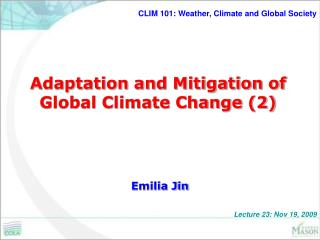 Adaptation and Mitigation of Global Climate Change (2)