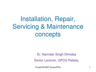 Installation, Repair, Servicing & Maintenance concepts