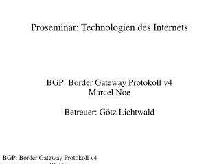 Proseminar: Technologien des Internets