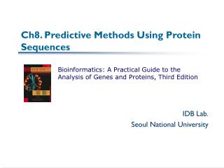 Ch8. Predictive Methods Using Protein Sequences