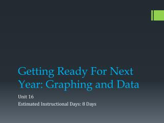 Getting Ready For Next Year: Graphing and Data