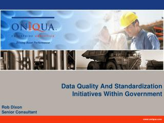 Data Quality And Standardization  Initiatives Within Government