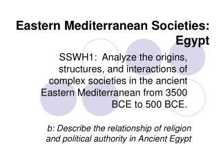 Eastern Mediterranean Societies: Egypt