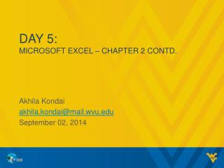 Day 5: MICROSOFT EXCEL – CHAPTER 2 CONTD.