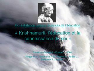 EC à distance Licence Sciences de l'éducation