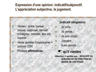 Expression d'une opinion: indicatif/subjonctif. L'appréciation subjective, le jugement.