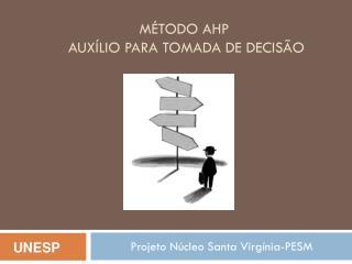 Método AHP  Auxílio para Tomada de Decisão