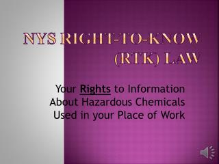 NYS Right-to-Know (RTK) Law