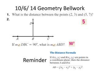 10/6/ 14 Geometry  Bellwork