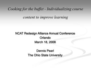 Cooking for the buffet - Individualizing course content to improve learning