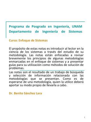 Programa de Posgrado en Ingenier a, UNAM Departamento de Ingenier a de Sistemas