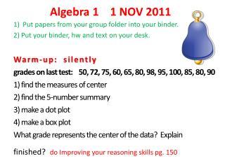 Algebra 1    1 NOV 2011