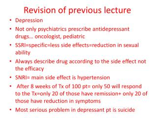 Revision of previous lecture
