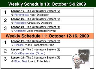 Weekly Schedule 10: October 5-9,2009