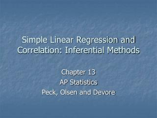 Simple Linear Regression and Correlation: Inferential Methods