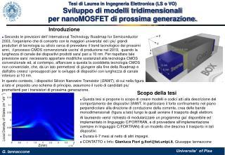 Tesi di Laurea in Ingegneria Elettronica (LS o VO) Sviluppo di modelli tridimensionali