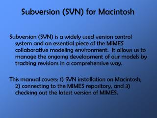 Subversion (SVN) for Macintosh