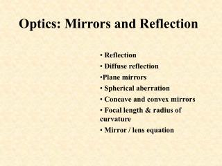 Optics: Mirrors and Reflection