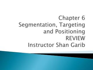 Chapter 6 Segmentation, Targeting and Positioning REVIEW Instructor Shan Garib