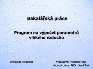 Program na výpočet parametrů vlhkého vzduchu