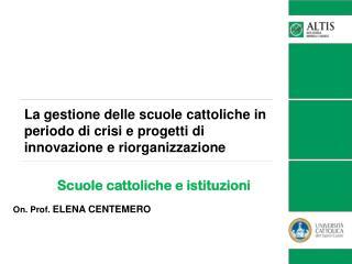 Scuole cattoliche e istituzioni