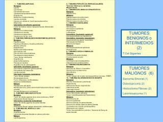 TUMORES BENIGNOS o INTERMEDIOS (2) T.Cel Gigantes