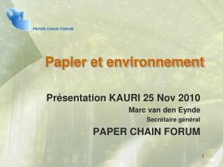 Papier et environnement