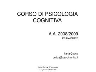 CORSO DI PSICOLOGIA COGNITIVA