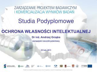 Studia Podyplomowe OCHRONA WŁASNOŚCI INTELEKTUALNEJ Dr inż. Andrzej Grząka