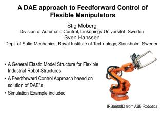 A DAE approach to Feedforward Control of Flexible Manipulators
