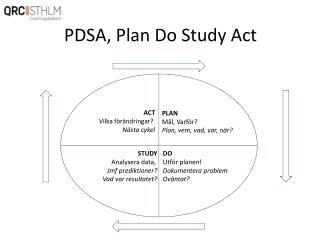 PDSA, Plan Do Study Act