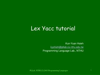 Lex Yacc tutorial
