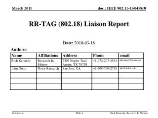 RR-TAG (802.18) Liaison Report