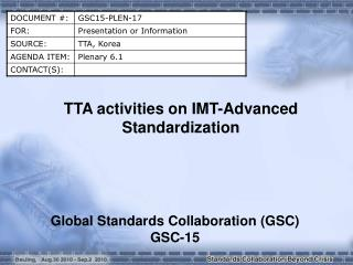 TTA activities on IMT-Advanced Standardization