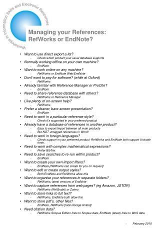 Managing your References: RefWorks or EndNote?