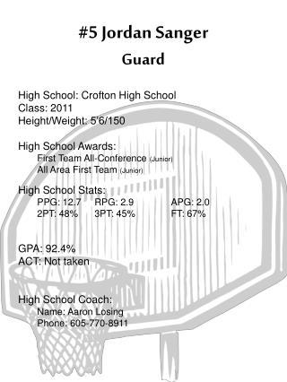 #5 Jordan Sanger Guard